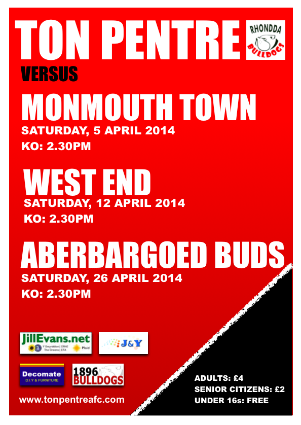 Ton Pentre AFC April Poster