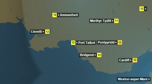 The weather forecast for Saturday shows rain across south Wales.