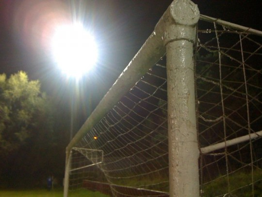 Goalposts at night