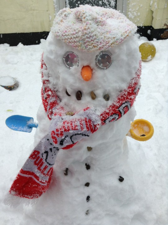 "One Bulldogs fan has sent us a picture of a ""Snowpporter"" proudly wearing a Ton Pentre scarf."