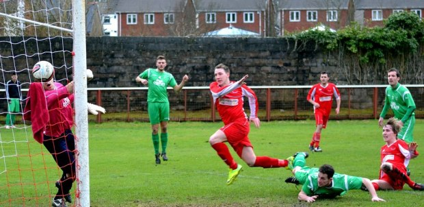 Goal: Striker Jaymie Wearn gives Ton Pentre the lead against Caerleon.