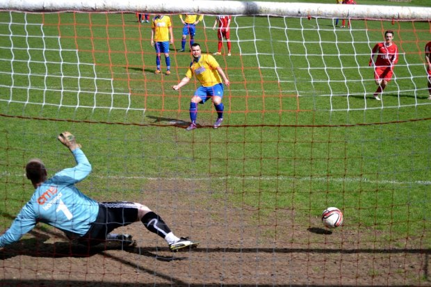 Challenger scores with a penalty kick to give Cwmbran a glimmer of hope.
