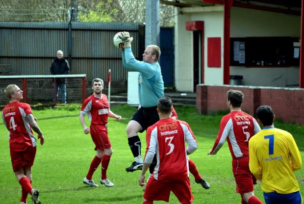 Match Action: A rare Cwmbran Celtic attack is thwarted by Howe.