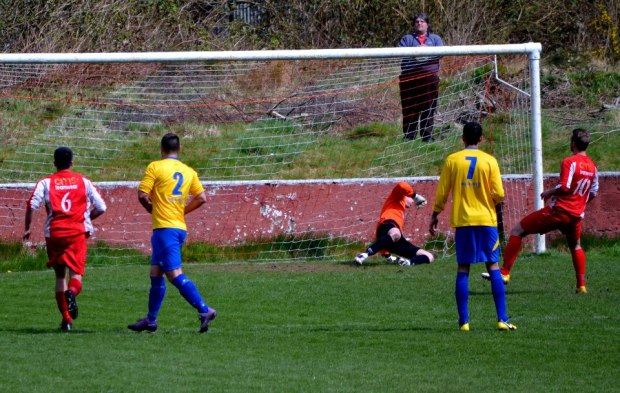 Leahy scores from the penalty spot to give Ton Pentre the lead.