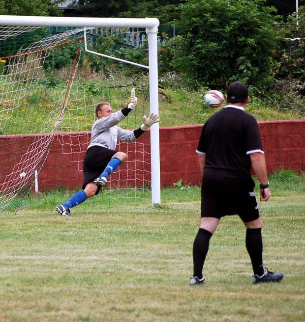 Super Save: Neil Collins denies an Afan Lido spot kick with an incredible save.