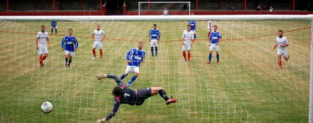Sweet Spot: Dorian Sweet find the back of the net with his penalty kick.
