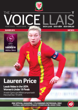 We will be giving away copies of the FAW magazine, The Voice, at the friendly game against Carmarthen Town. It features a preview of the UEFA Women's U19 Championships, which the Old Gold will help to host.