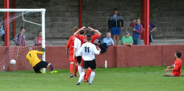 Luke Prosser gives Goytre the lead at Ynys Park.