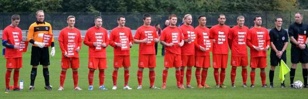 Ton Pentre show their support to Show Racism the Red Card's Fornight of Action prior to kick off in Monmouth.
