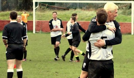 Sully Sports players celebrate after pulling off a Welsh Cup shock at Ynys Park to knock Ton Pentre out of the competition.