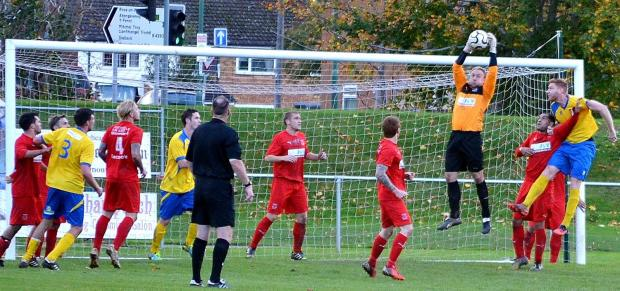 Neil Collins collects the ball in Ton Pentre's visit to Monmouth Town earlier this season.