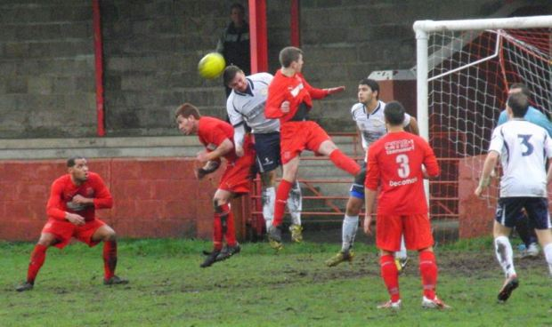 Action from Ton Pentre v Cwmbran Celtic.