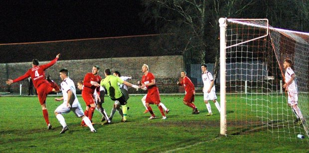 The build up to Ton Pentre's goal against AFC Porth. Porth fail to clear from a corner and the ball fell nicely for Thomas Davies (out of shot) to score.