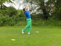 A proper golf stance.