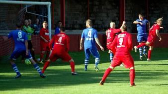 An effort from Thomas Davies puts the Haverfordwest defence under pressure.
