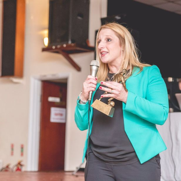 Councillor Shelley Rees-Owen tells the audience that the work going on at Ton Pentre is not going unnoticed by the community.