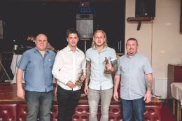 Leon Jacka and Thomas Davies with their Players' Player of the Year trophies, presented by Gareth Good of Real Windows.