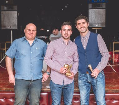 Lewis Hitchcock receives the Goal of the Season award from manager Lee Phillips.