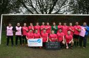 Ton Pentre Reserves go pink for Tenovus Cancer Care and Breast Cancer Awareness Month. The team also show off our exclusive pink wristbands that are available from the Tenovus Cancer Care shop in Treorchy.