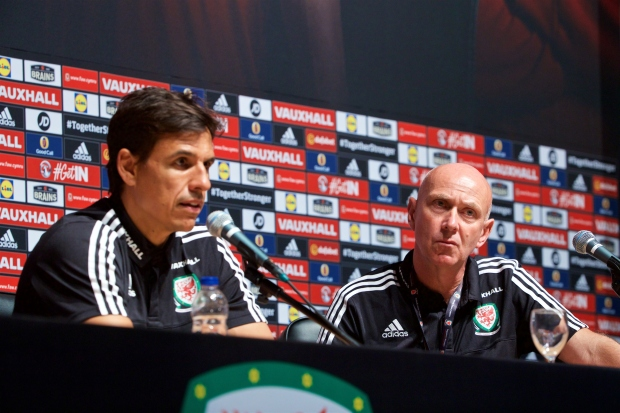 Chris Coleman and Ian Gwyn Hughes at a EURO 2016 press conference.